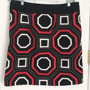 Ann Taylor skirt sz 12 black red and white print